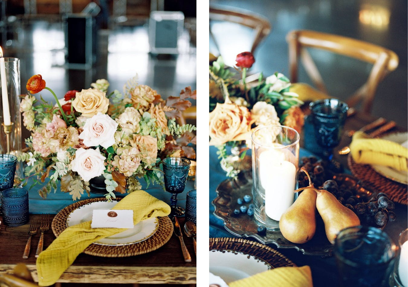 Fall wedding tablescape with golden pears, blueberries, blue glassware, gold napkins, and gold and champagne-hued fall flowers   PartySlate