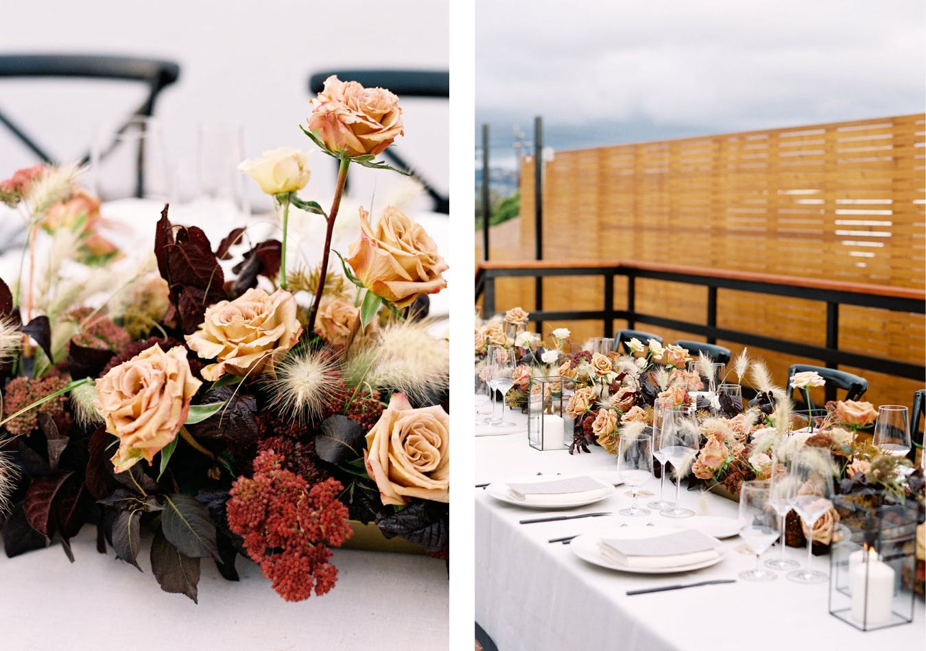 Modern backyard wedding with champagne and burgundy floral centerpieces   PartySlate