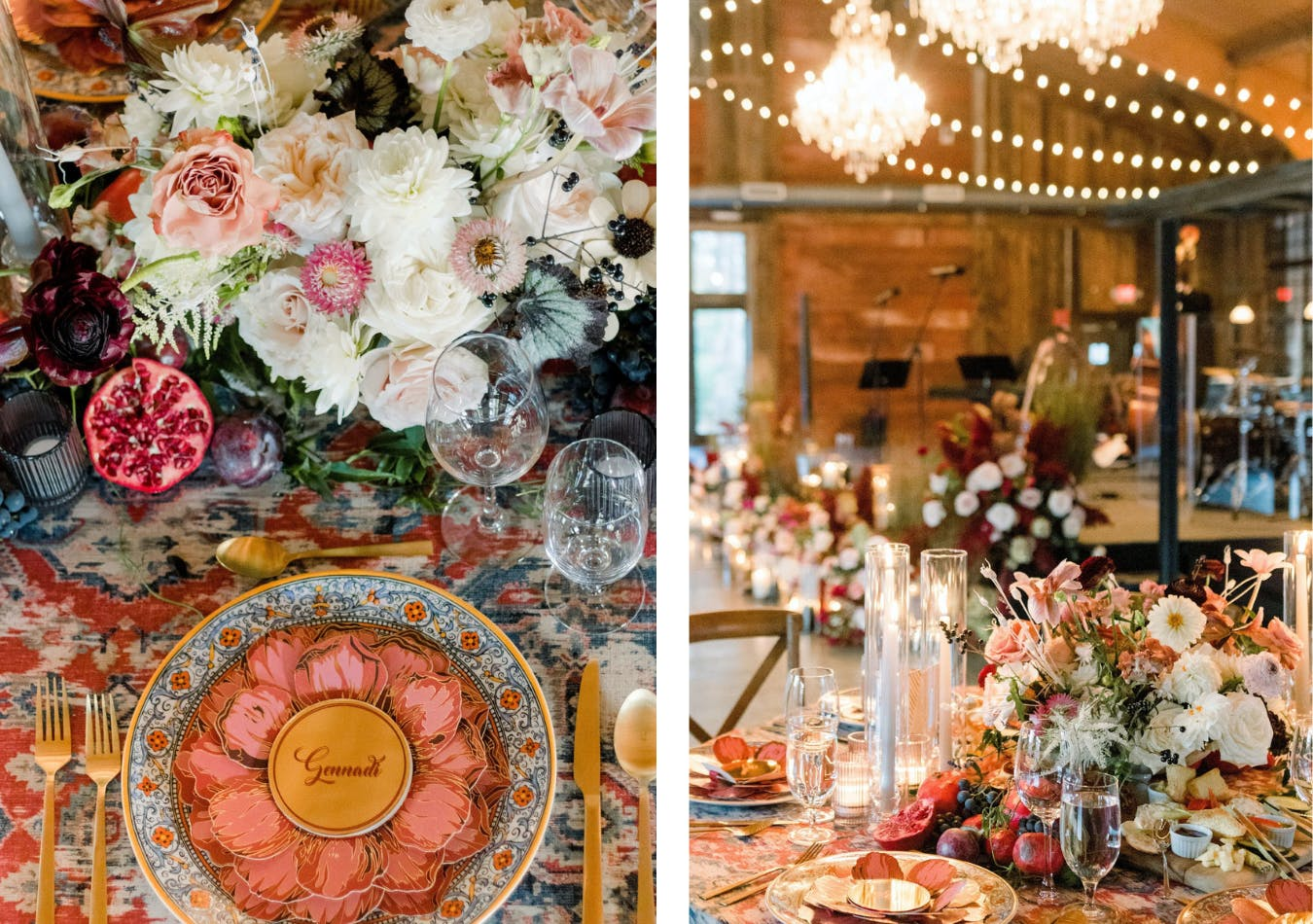 whimsical fall wedding tablescape in coral, pomegranate, plum, and blueberry shades   PartySlate