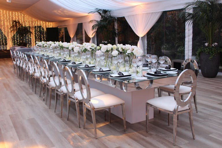 Wetherly Pavilion at Four Seasons Los Angeles at Beverly Hills with White Tablescape | PartySlate