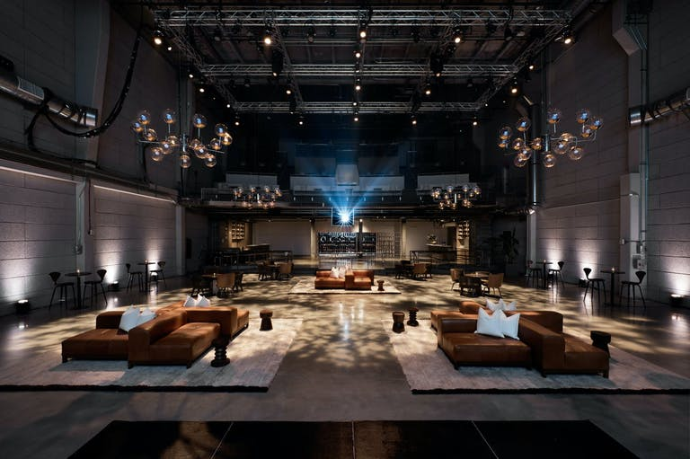 Studio A at NeueHouse, Hollywood, a glamorous and industrial-chic event space for a holiday party in LA | PartySlate